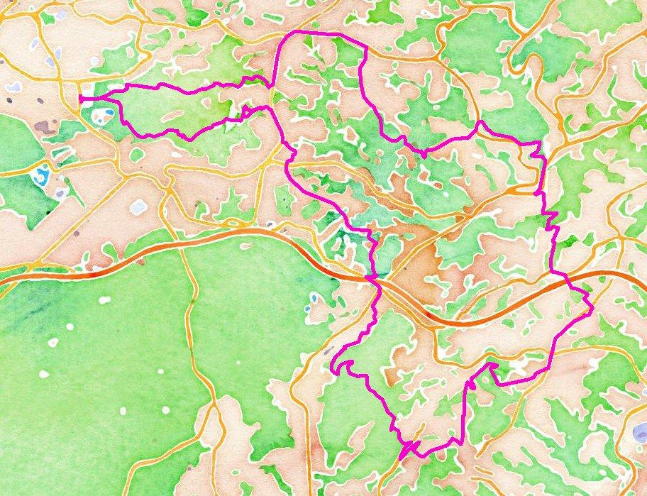 39 Kilometer im Uhrzeigersinn durch den Südkreis Karte: (C) Openstreetmap Mitwirkende / Stamen Watercolor